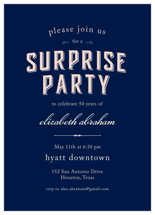 Surprise Milestone Birthday Party Invitations Match Your Color Style Free