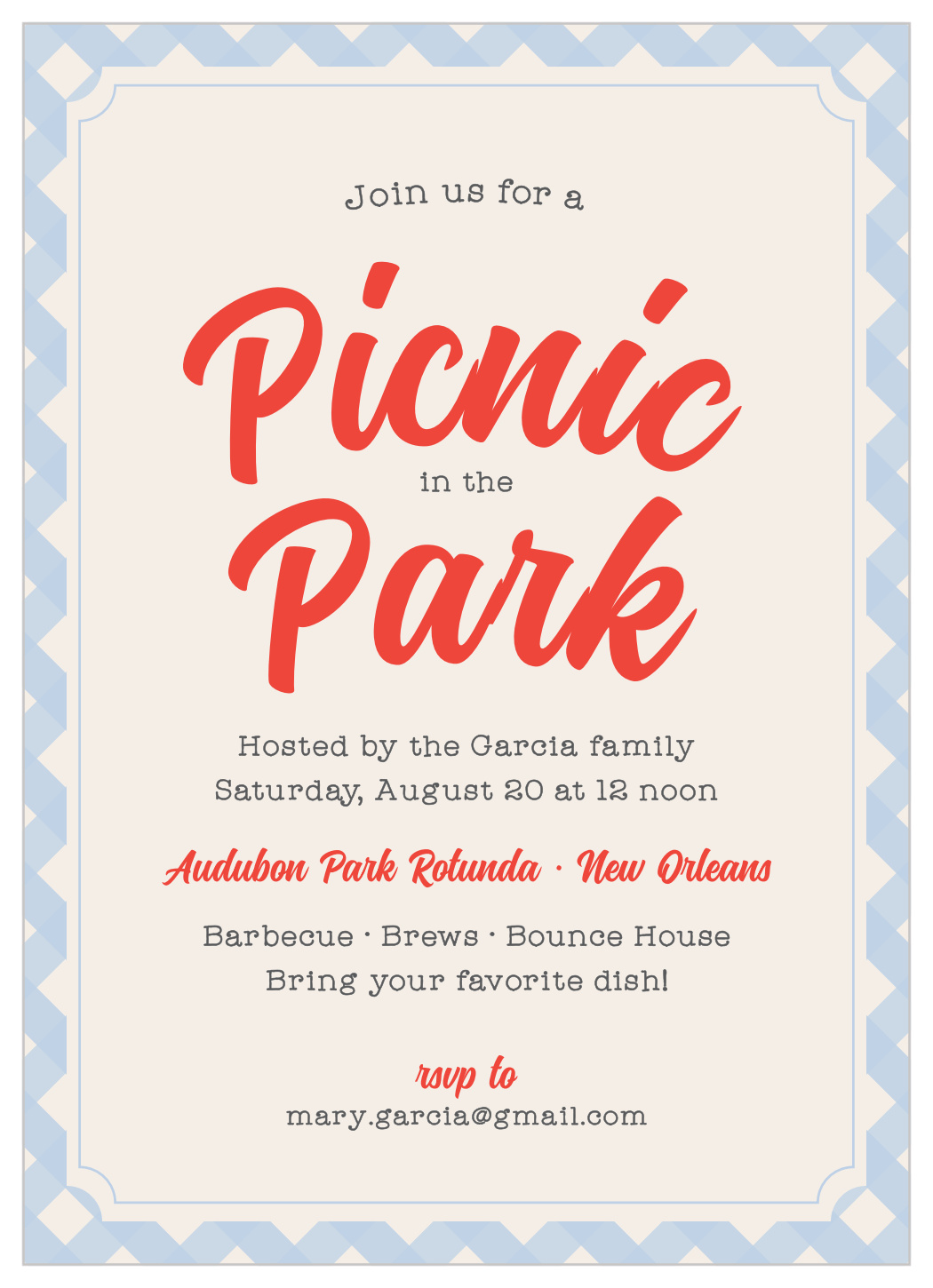 picnic in the park children s birthday invitation