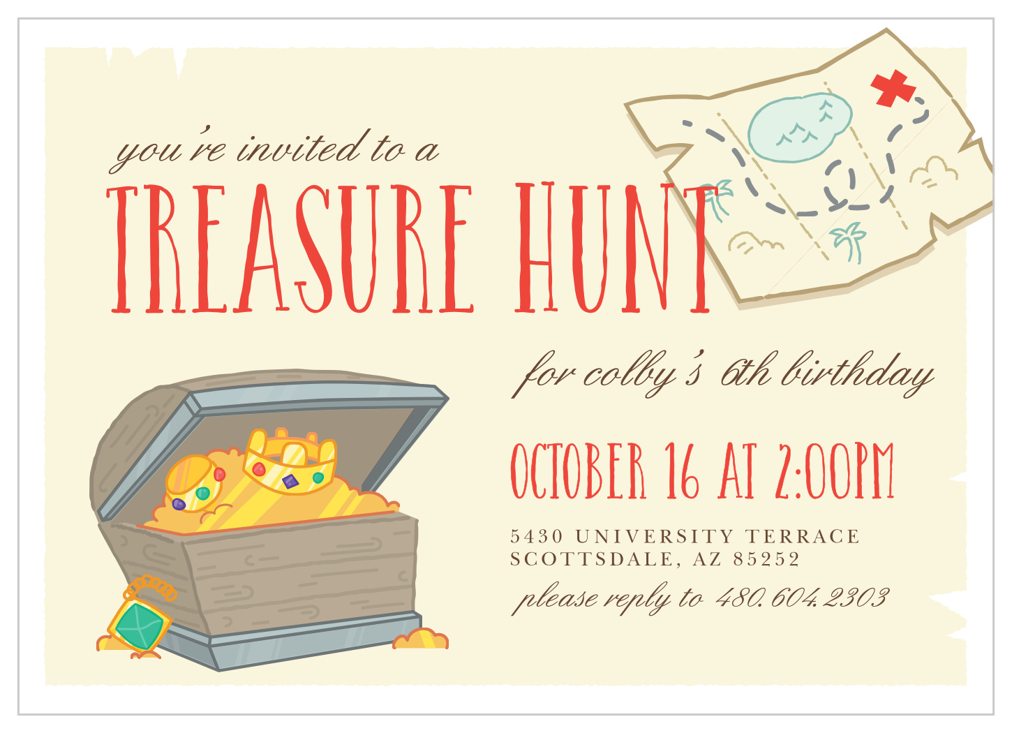 treasure hunt children s birthday invitations
