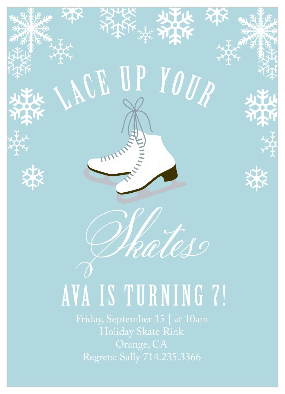 ice skates children s birthday invitations