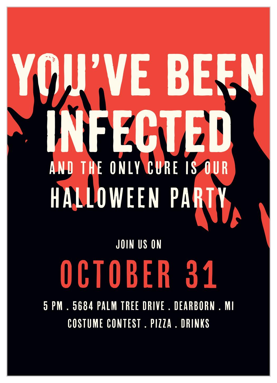 infection halloween invitations