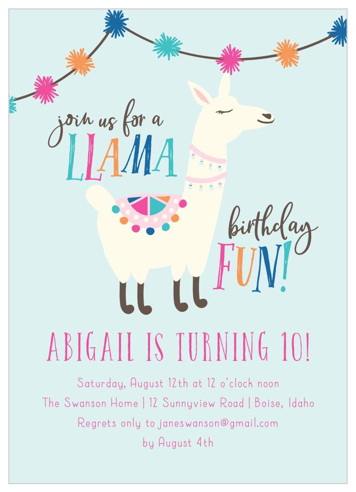 A Llama Fun Children S Birthday Party Invitations