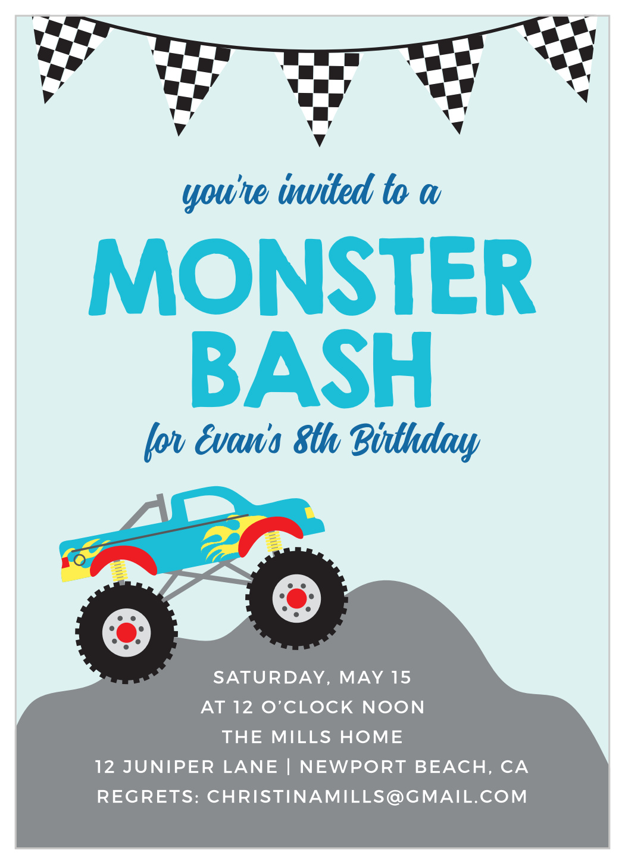 monster truck bash children s birthday invitations