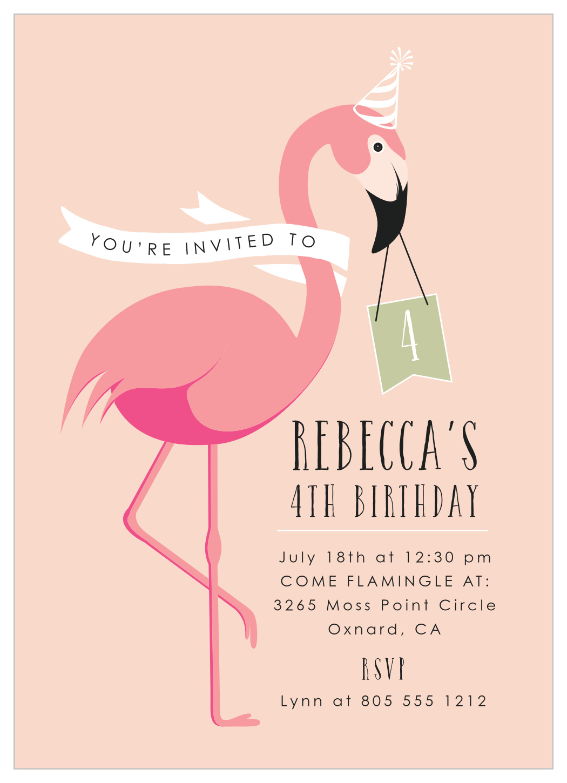 flamingo party children s birthday invitations