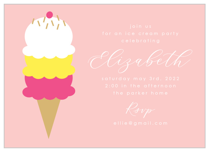 Ice Cream Children S Birthday Invitations Match Your Color Style Free