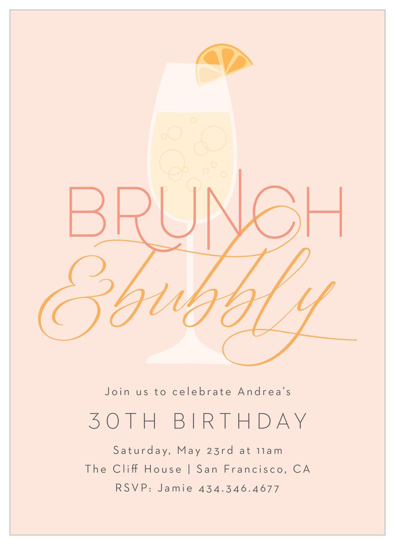 bubbly brunch milestone birthday invitations