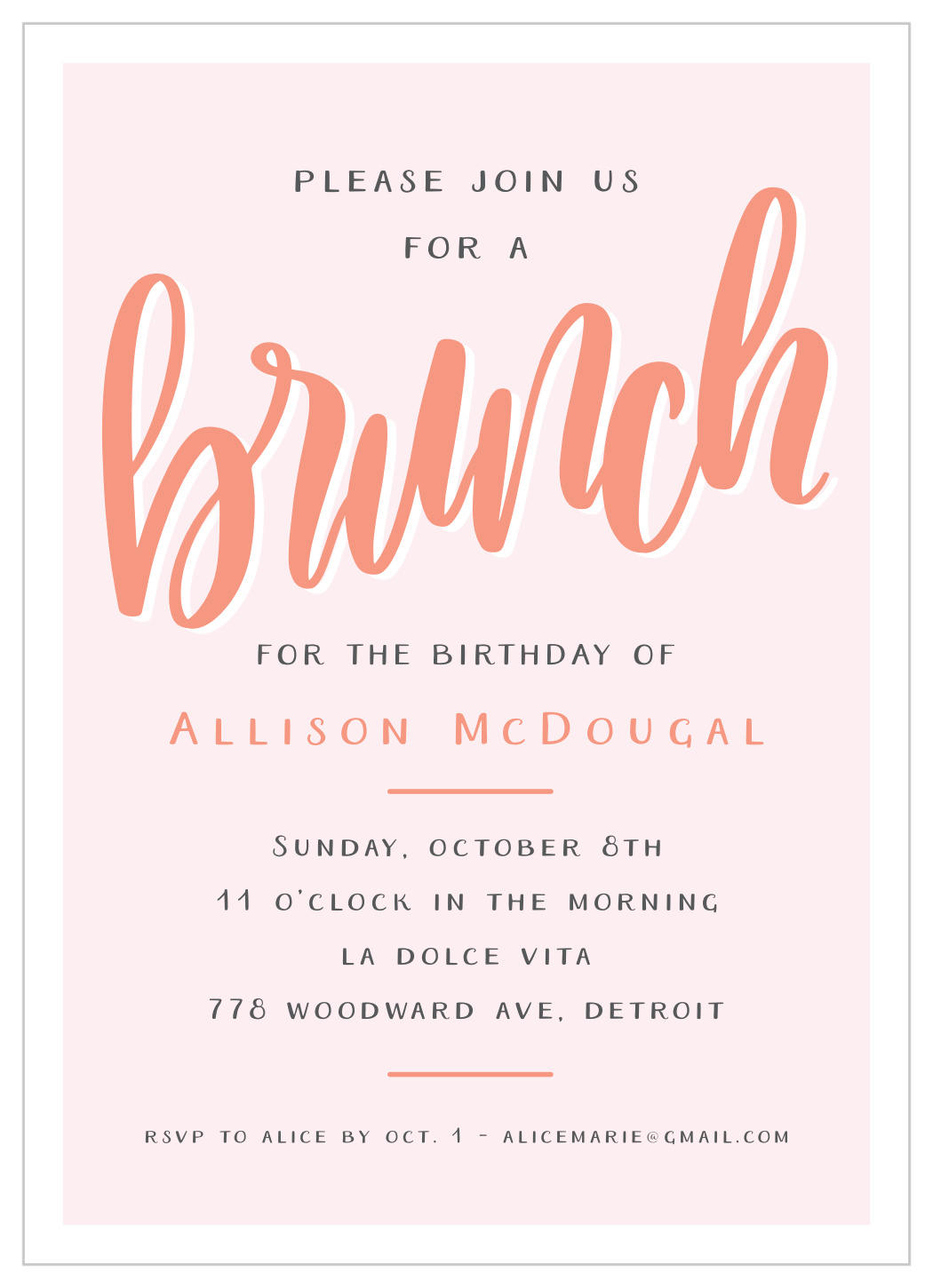 lettered brunch adult birthday invitations