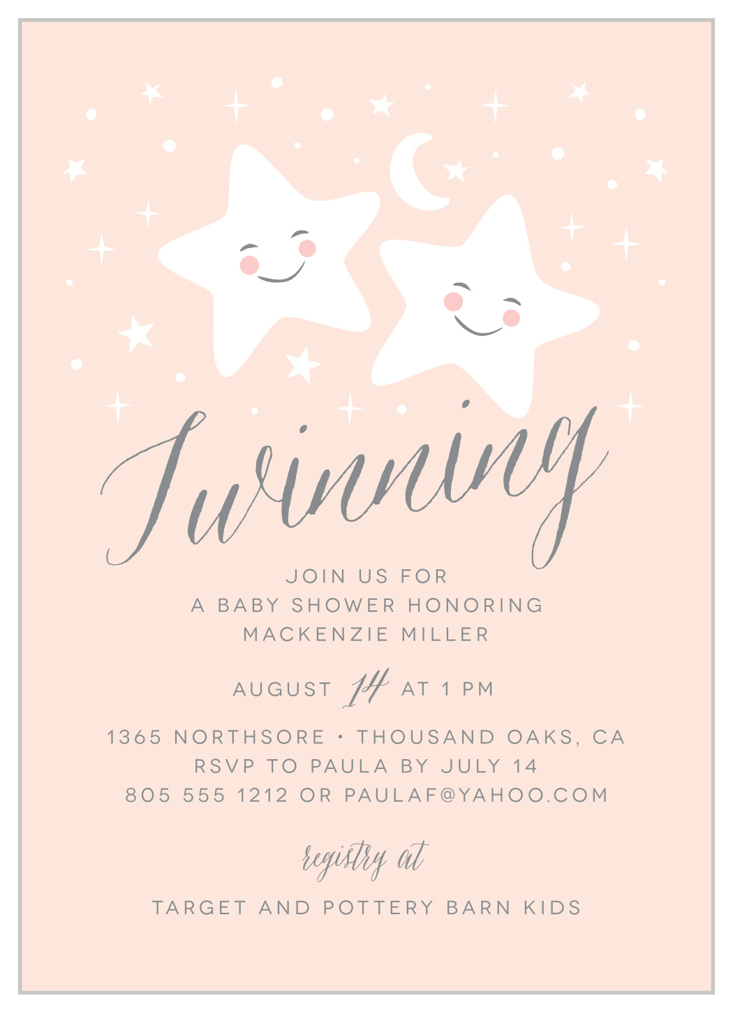 twinkle twins baby shower invitations