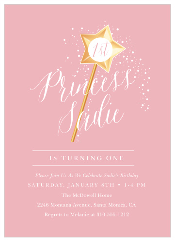 Princess Wand First Birthday Invitations By Basic Invite