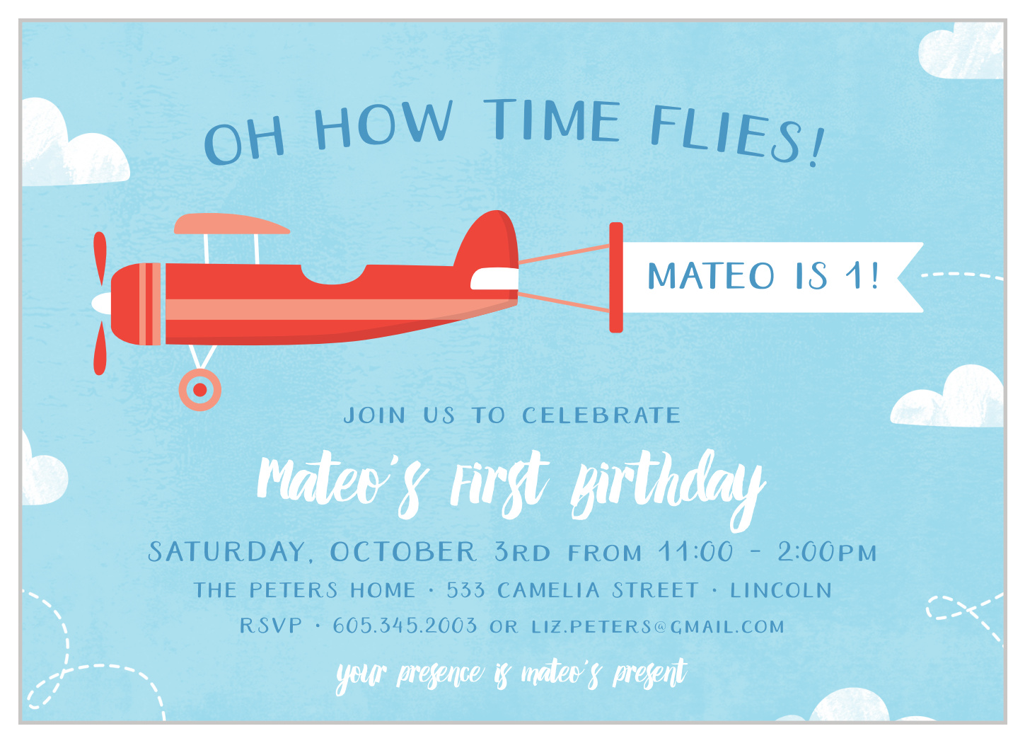 little pilot first birthday invitations