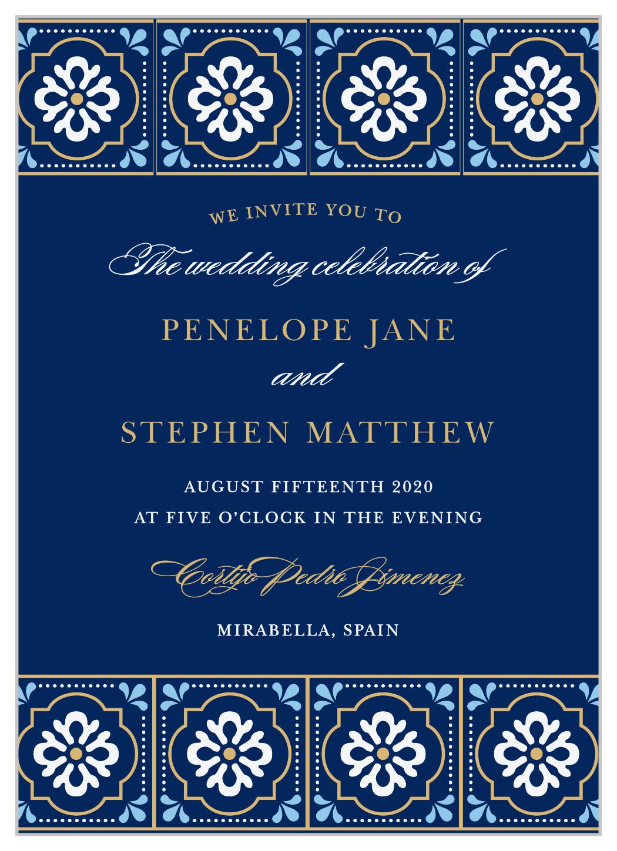 spanish tile foil wedding invitations