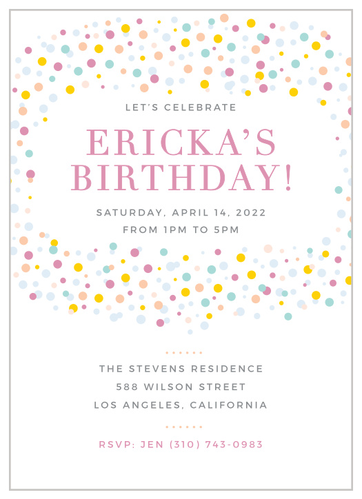 Polka Dot Birthday Invitations Match Your Color Style Free