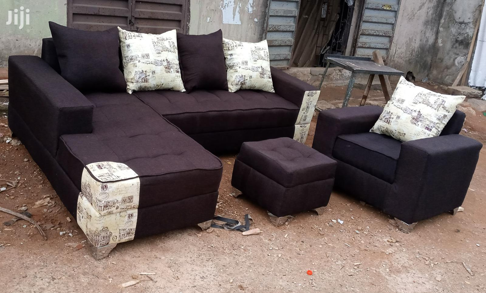 l shaped sofa with single seater chair and ottoman dark brown couches