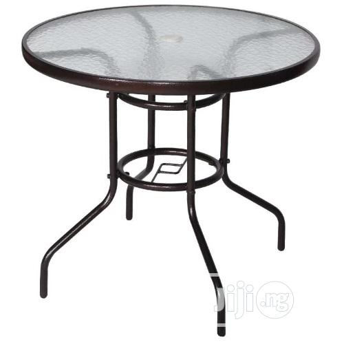 unic outdoor patio table round steel frame tempered glass top pool umb