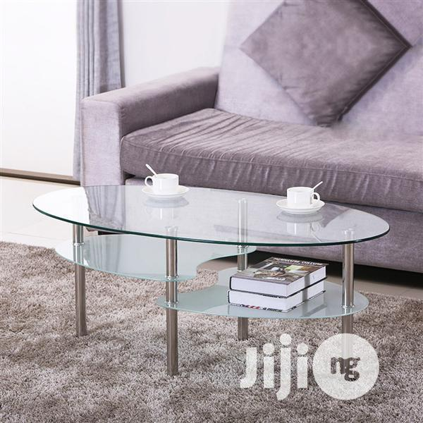 3 tier modern living room oval glass coffee table round glass side end