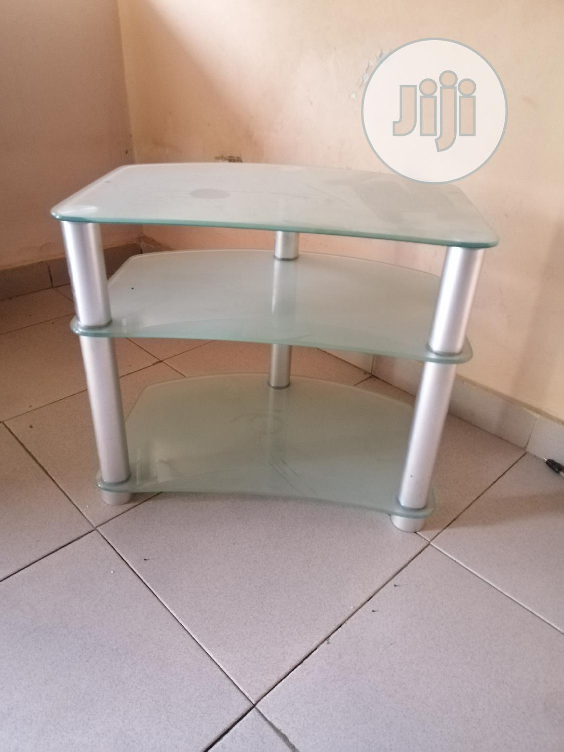neatly used glass tv stand for sale