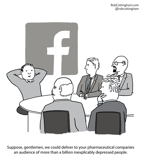 (Facebook rep at a boardroom table) Suppose, gentlemen, we could deliver to your pharmaceutical companies an audience of more than a billion inexplicably depressed people.