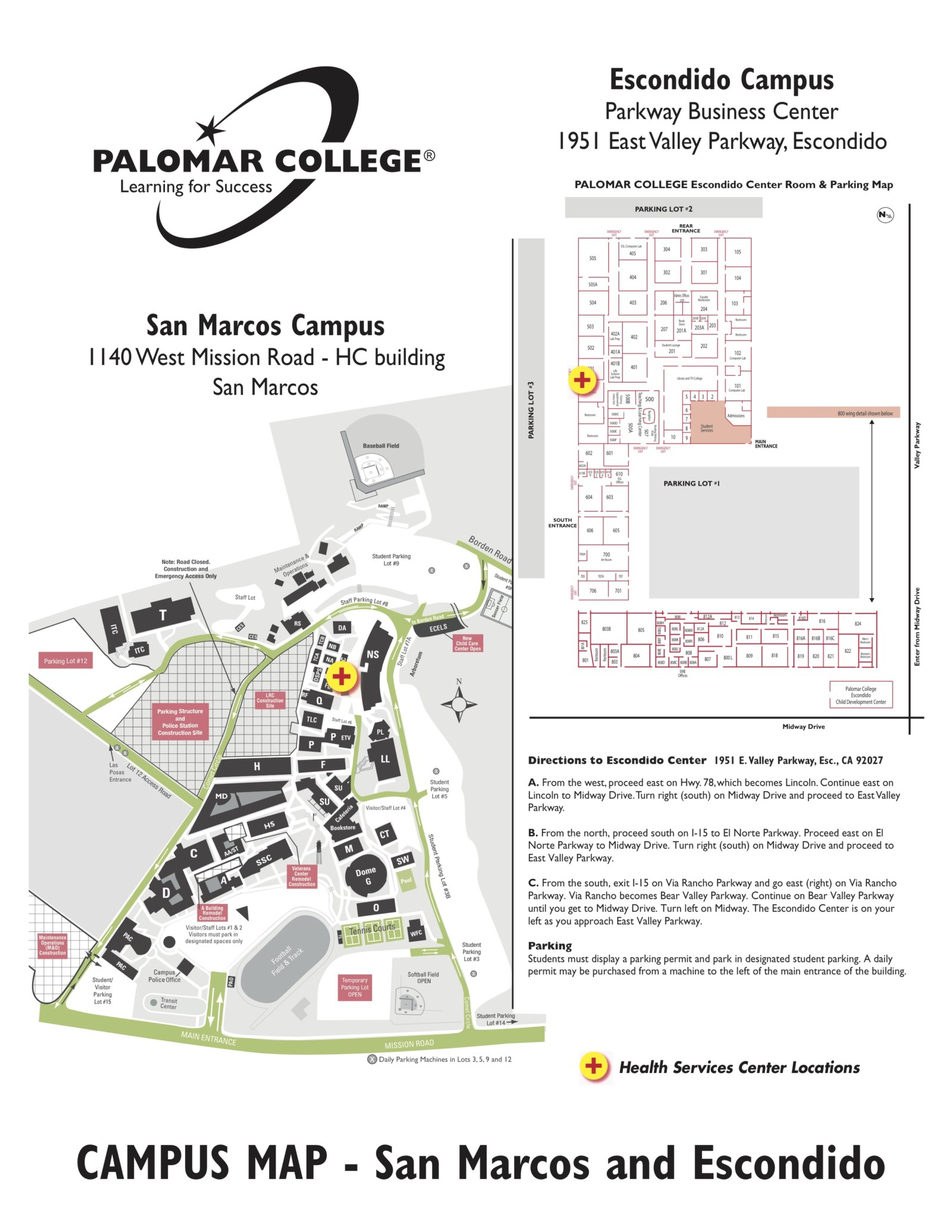 Palomar San Marcos Campus Map.North Center Palomar Campus Map