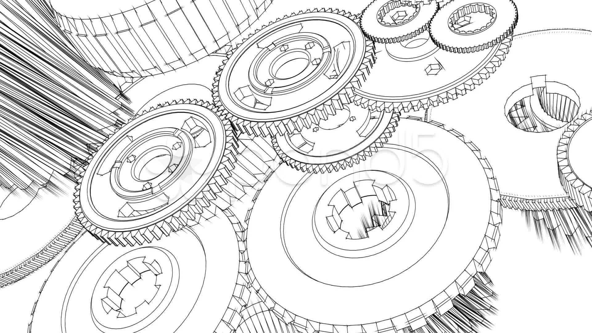 Gears Turning Blueprint Sketch Animation Video