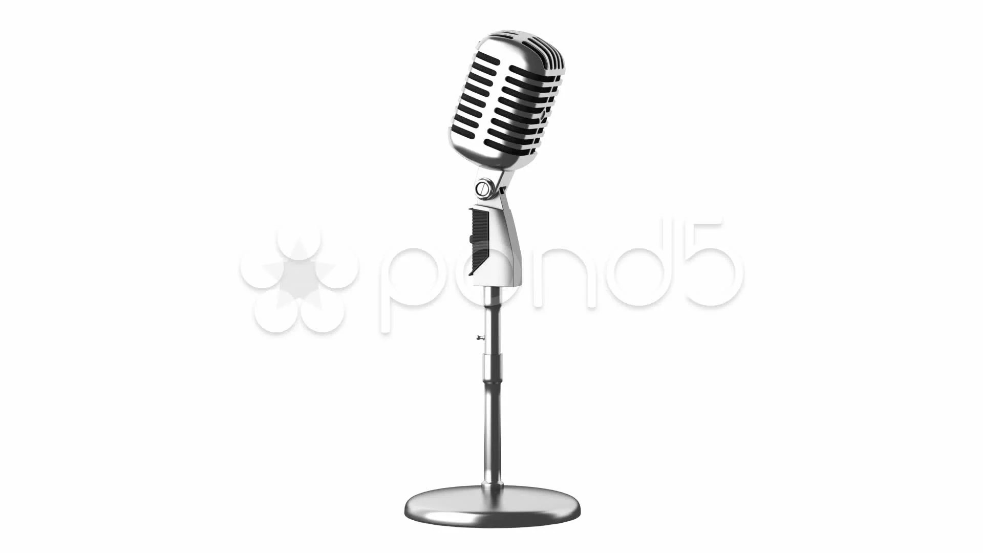 Vintage Microphone Loop Rotate On White Background Stock