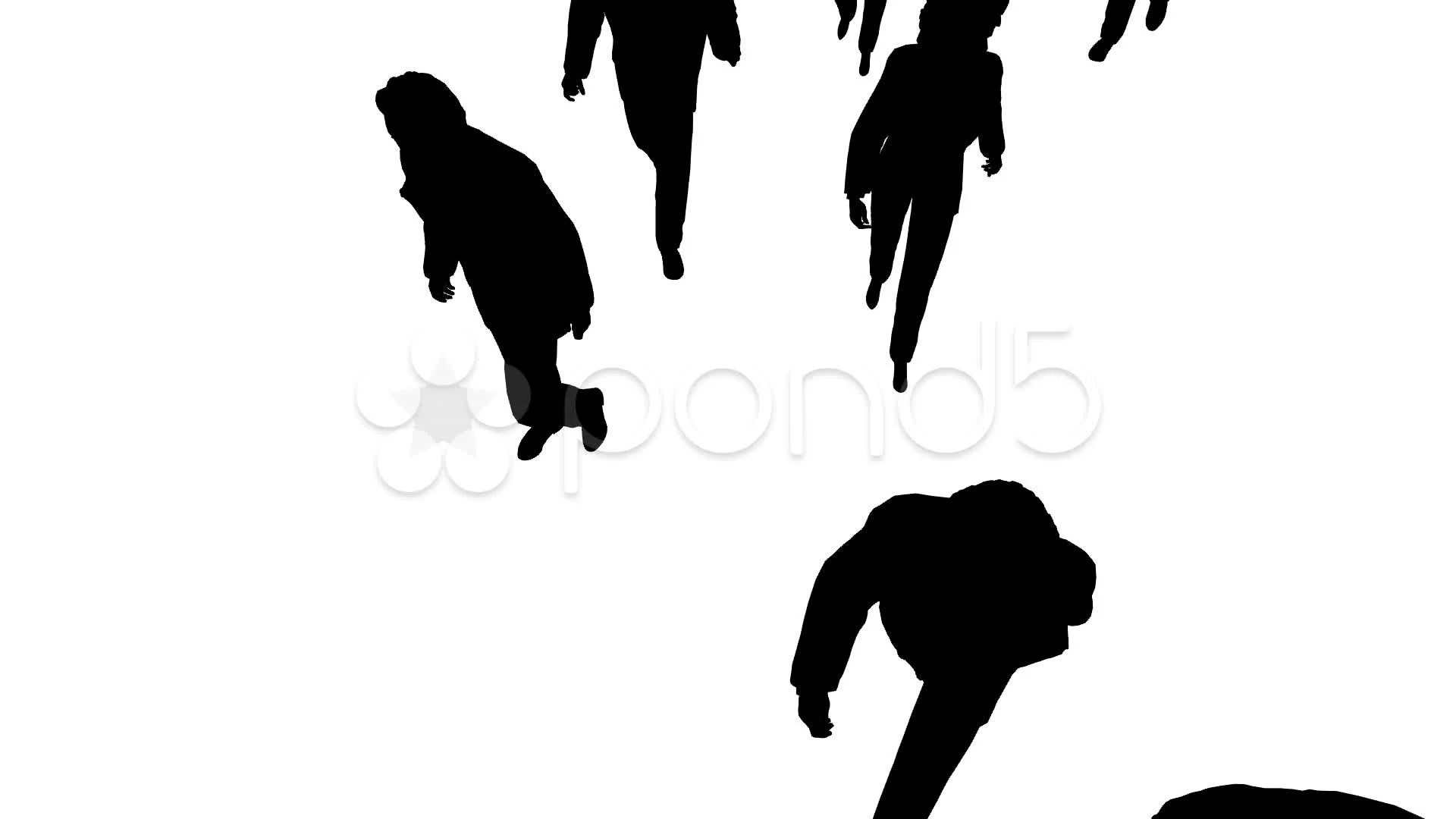 Aerial View Of Silhouette People Walking Forward Stock