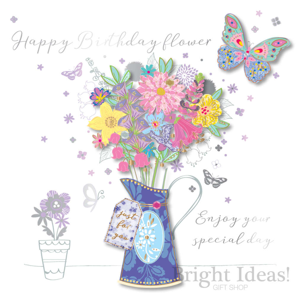 Greeting Cards Party Supply Friend Special Day Bright Flowers Butterflies Design Happy Birthday Card Greeting Cards Invitations