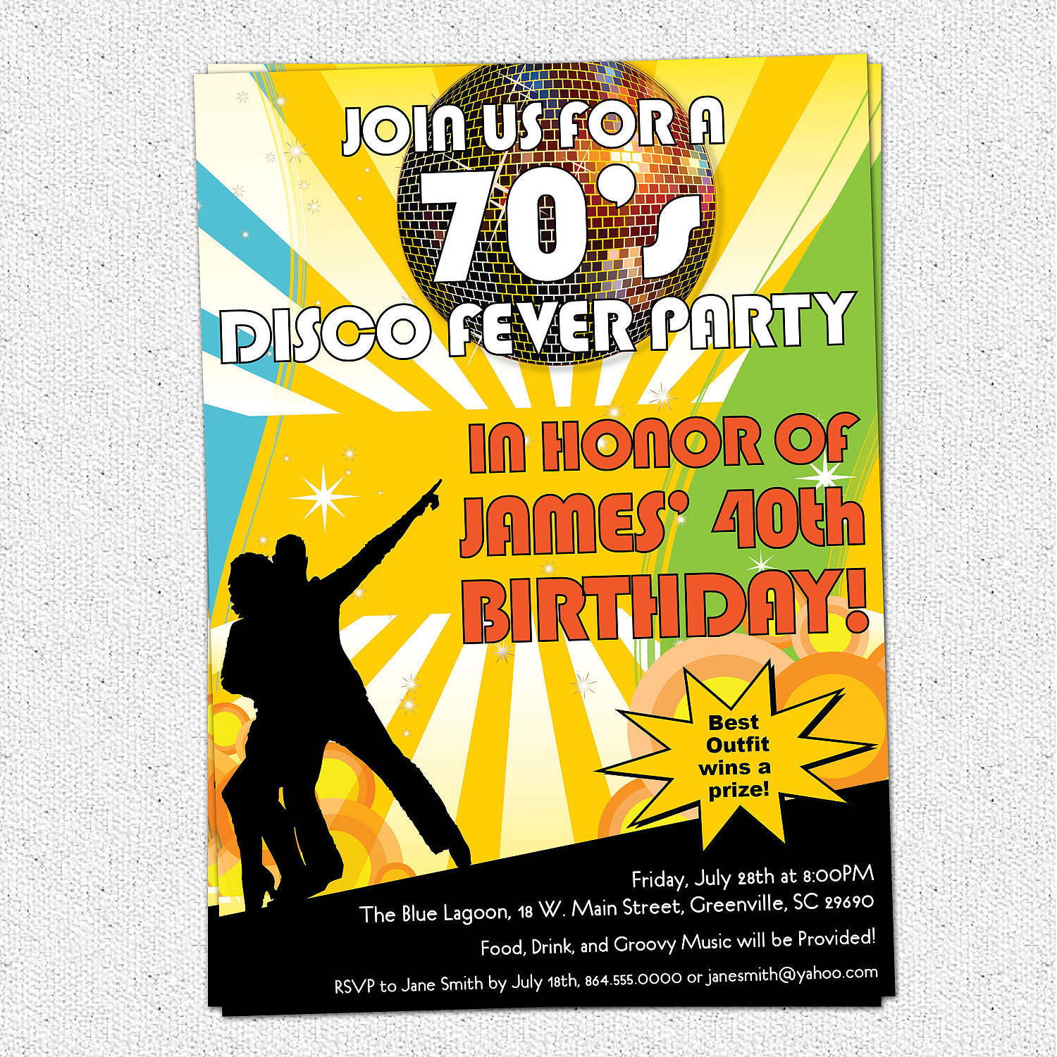 Disco Ball 70s Seventies Themed Party Invitations Birthday Dance Party Set Of 10 Sold By Ohcreativeone Llc On Storenvy