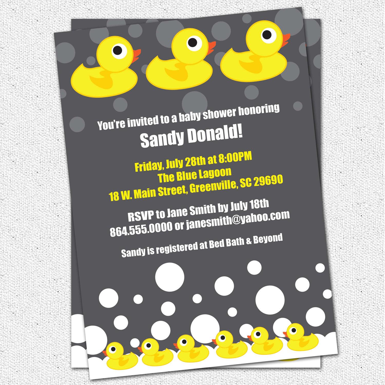 Ducky Baby Shower Invitation Templates