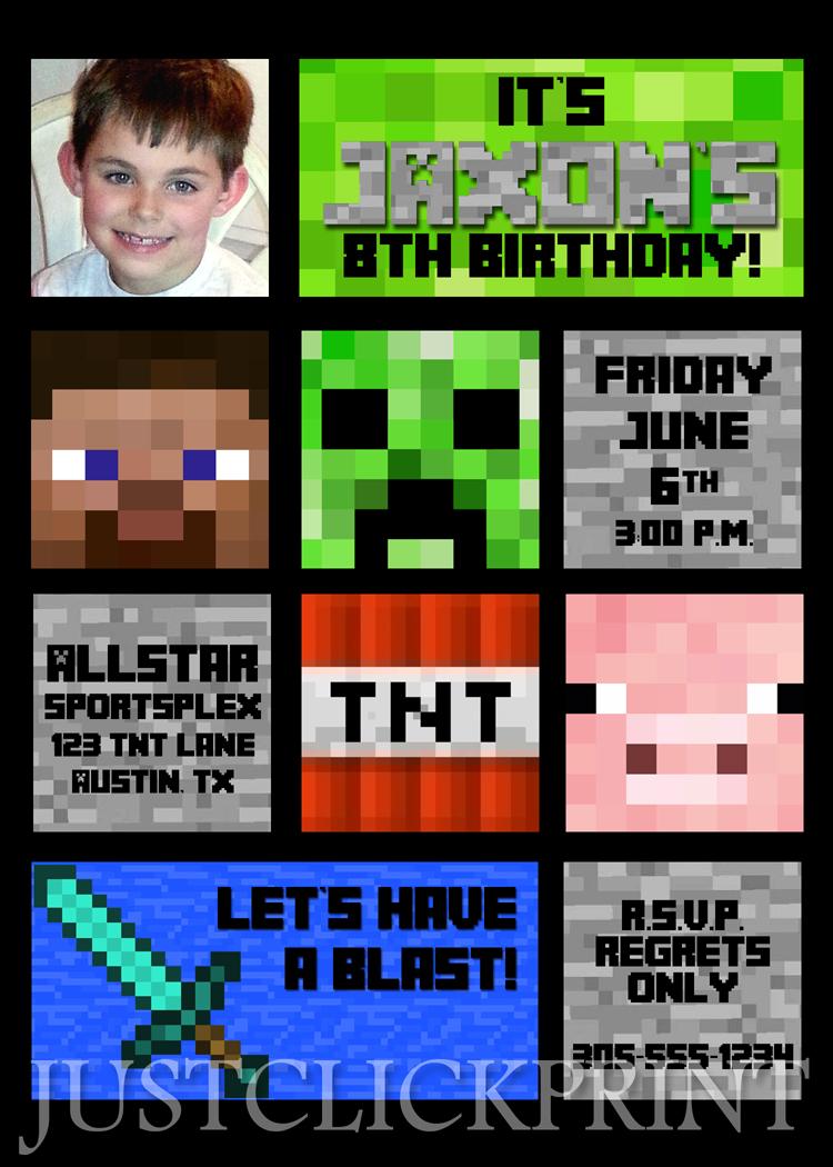 Minecraft Inspired Birthday Party Photo Invitation