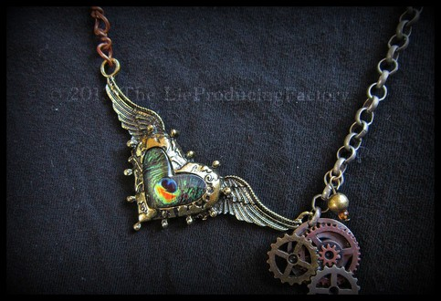 Steam Tell Heart -Winged Heart Charm Necklace