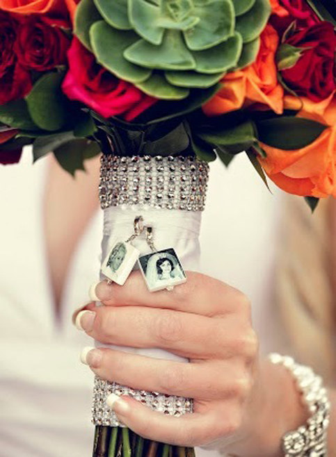 BC33 2 Wedding Bouquet Memorial Photo Charms Small
