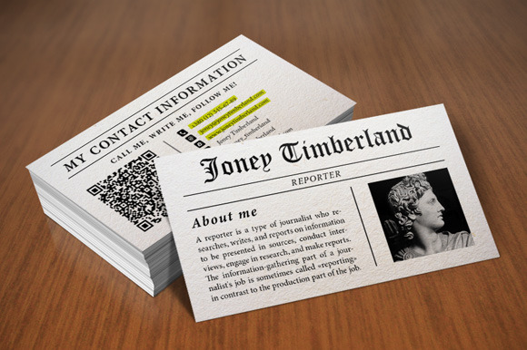 Newspaper Reporter Business Card Business Card