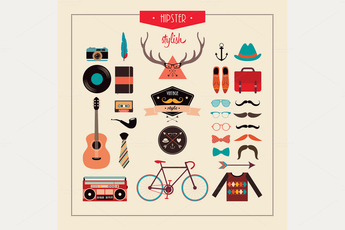 Hipster Stuff Vector Design Illustrations On Creative
