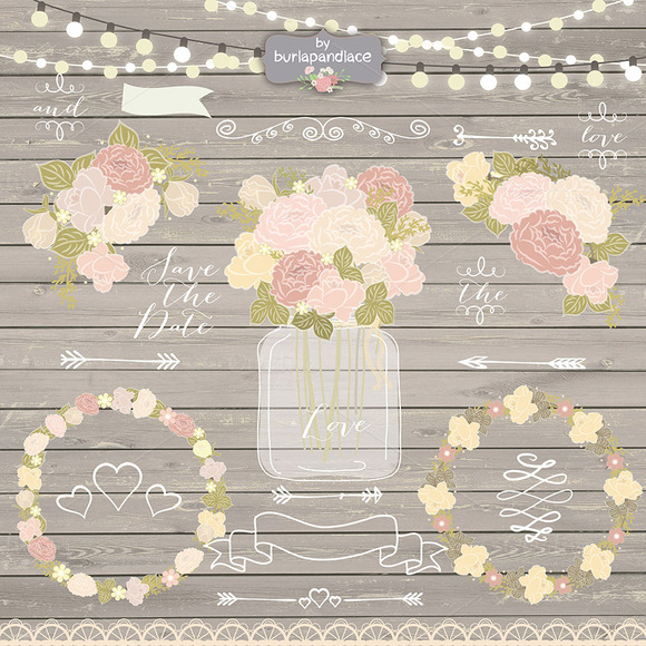 Rustic Wedding Invitations Vector
