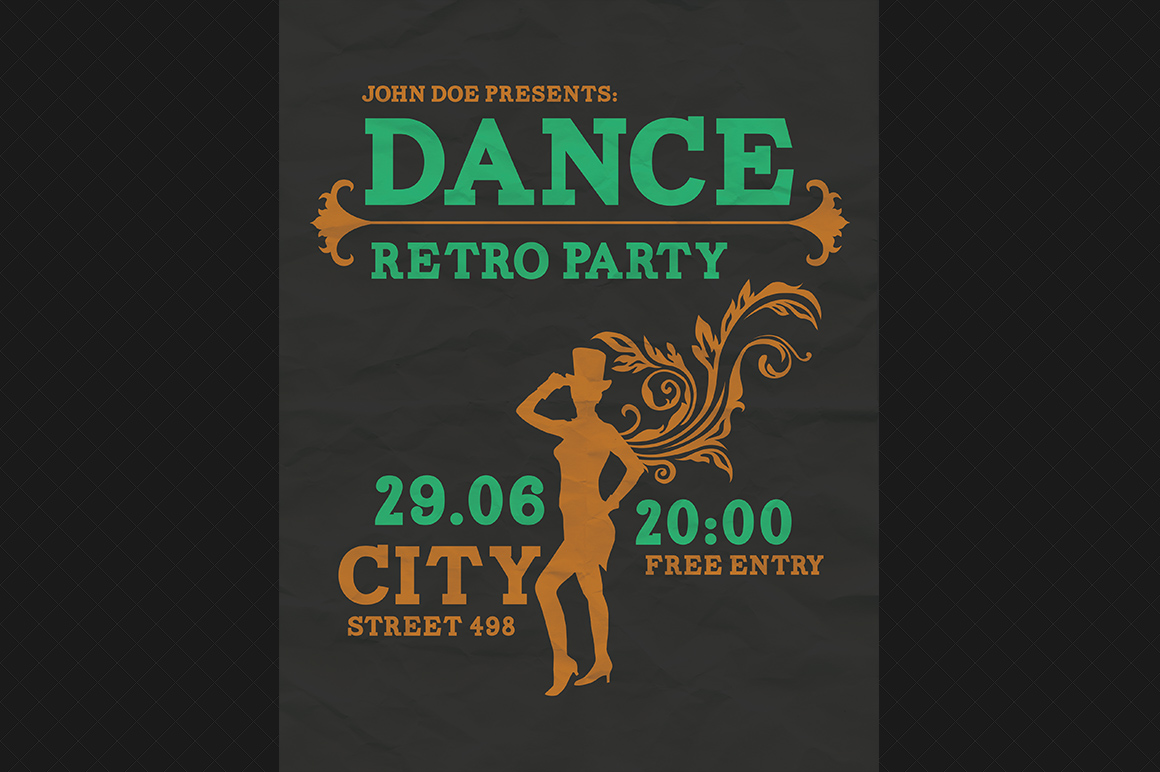 Dance Retro Party Flyer PSD Flyer Templates On Creative Market