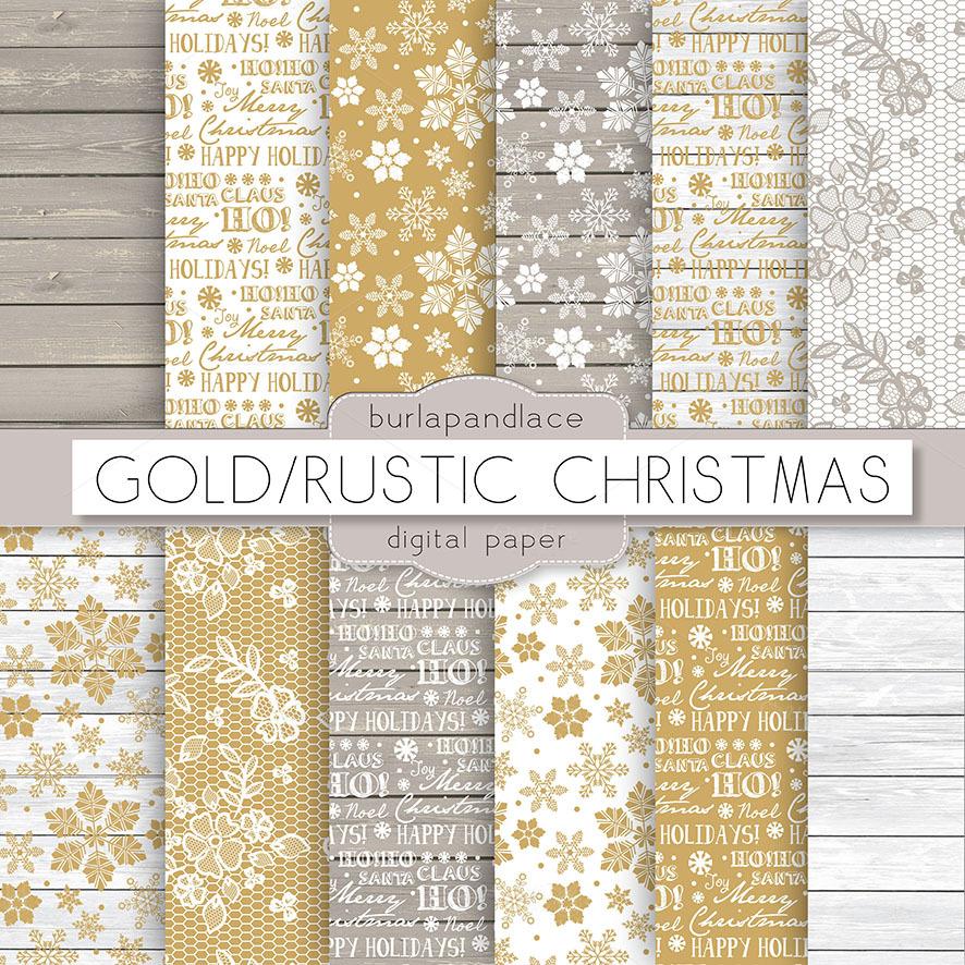 GoldRustic Christmas Digital Paper Patterns On Creative