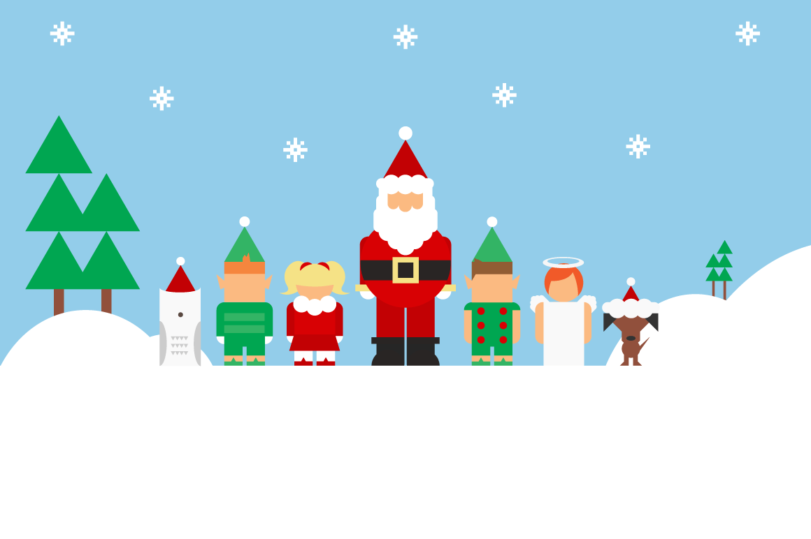 Dad Santa And Kid Elves Illustrations On Creative Market