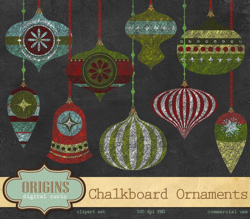 Chalkboard Christmas Ornaments Illustrations On Creative