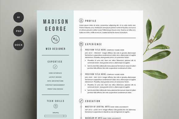 resume amp cover letter template resume templates on creative market
