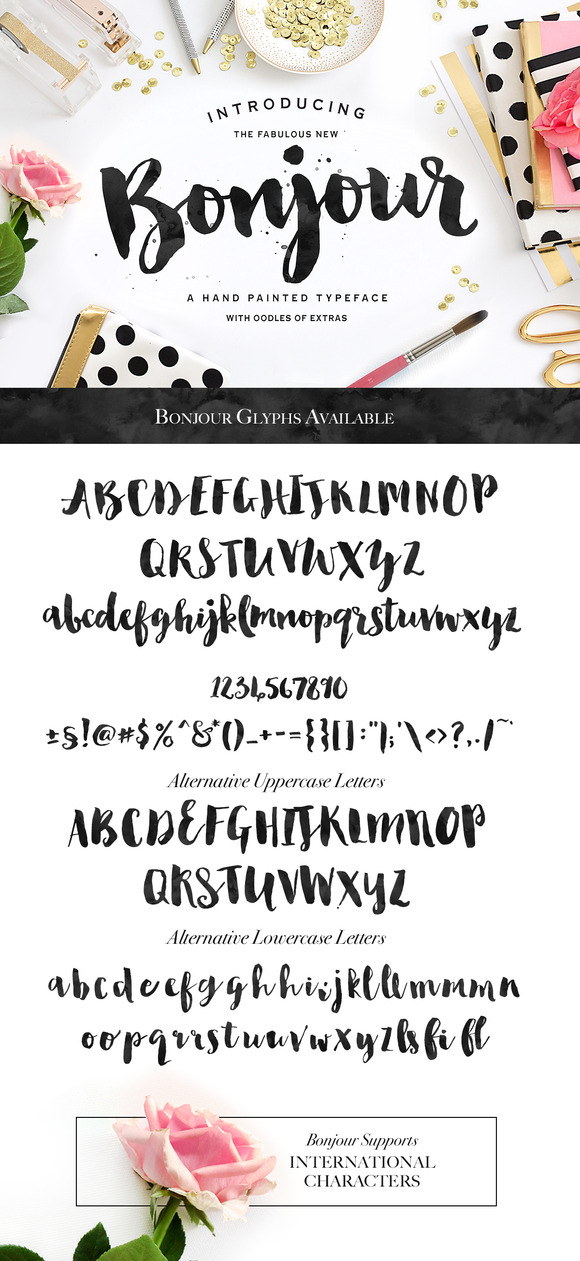 Bonjour! Typeface with Extras