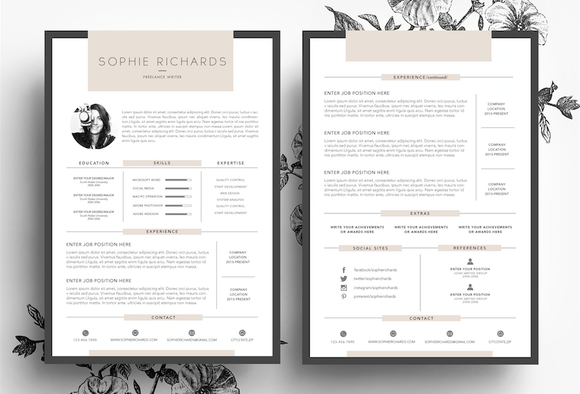 resume cv business card resume templates on creative market