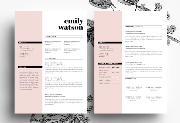 page cv template business card resumes