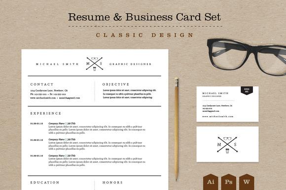 Classic Resume Design. Classic Resume Amp Business Card Set Resume