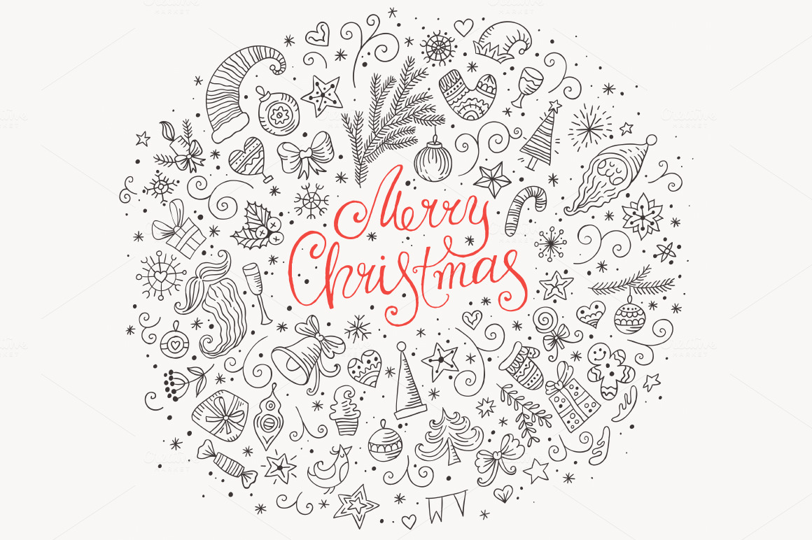 Merry Christmas Doodle Greeting Card Illustrations On