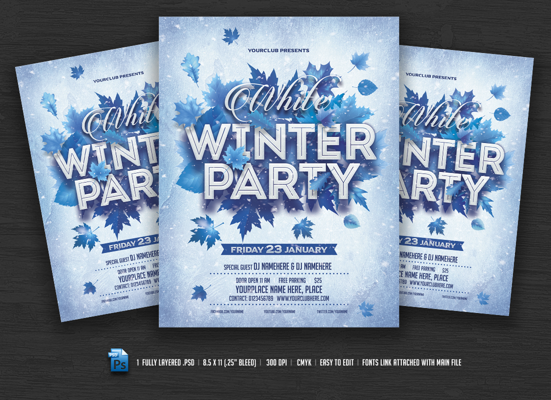 Winter Party Flyer Templates On Creative Market