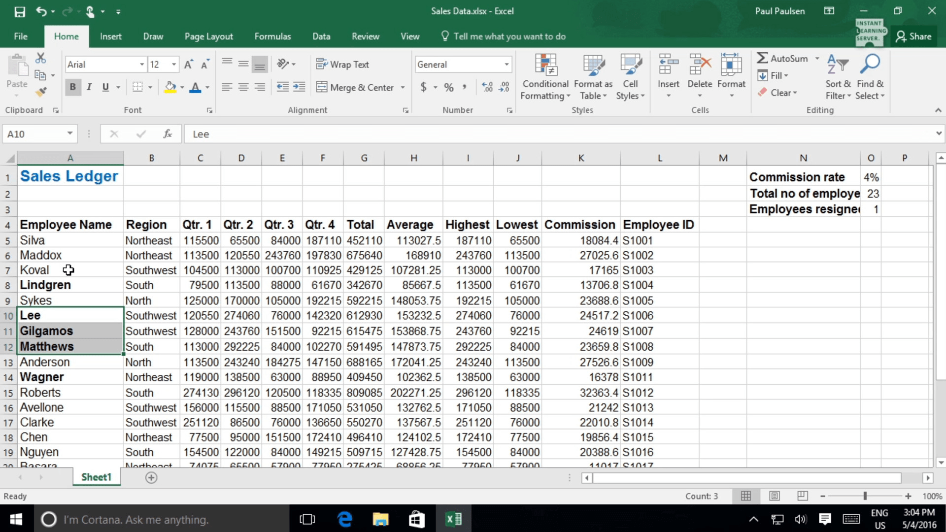 Formatting A Worksheet In Excel Online Software Course