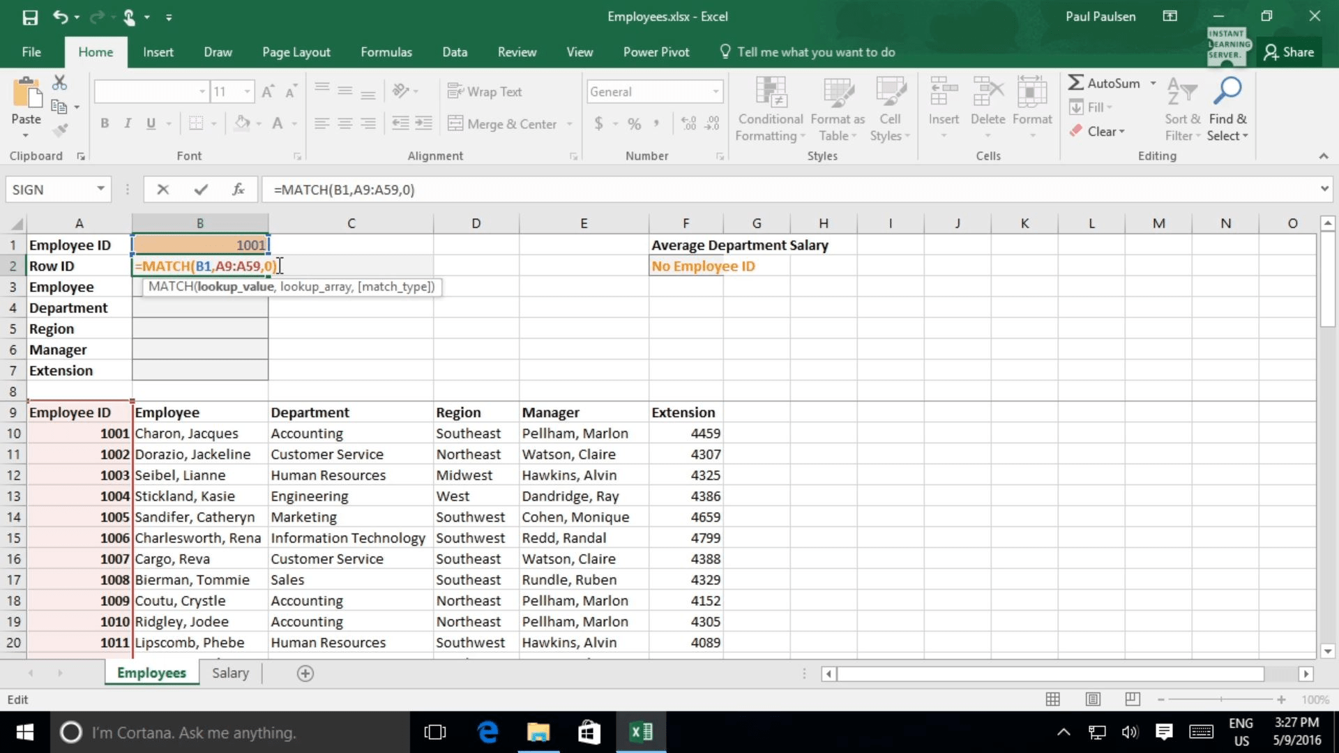 Using The Lookup Function And Formula Auditing In Excel