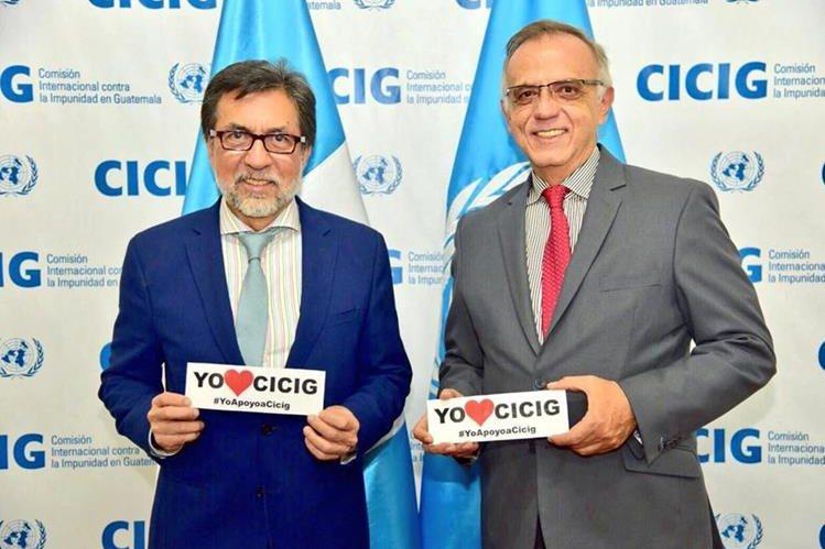 Fotografía del embajador Luis Arreaga y el comisionado Iván Velásquez publicada por la embajada de EE. UU. (Foto Prensa Libre: @usembassyguate).