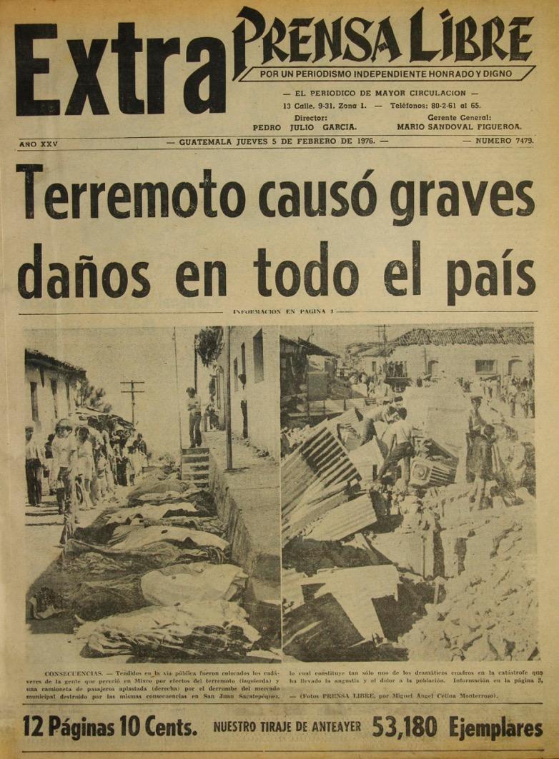 Portada de la edición extraordinaria de Prensa Libre del 5 de febrero de 1976. (Foto: Hemeroteca PL)