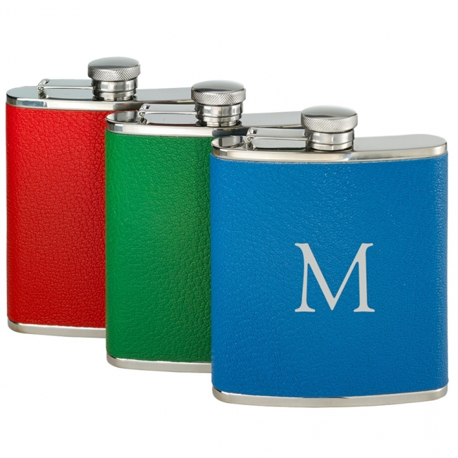 Brights You-Initial-It Leather-Wrapped Flask 6 oz